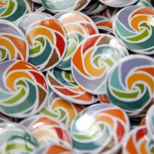 Pile of Bioneers Logo Buttons