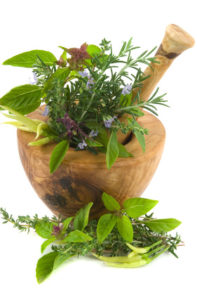 Herbs and Flowers with Mortar and Pestle