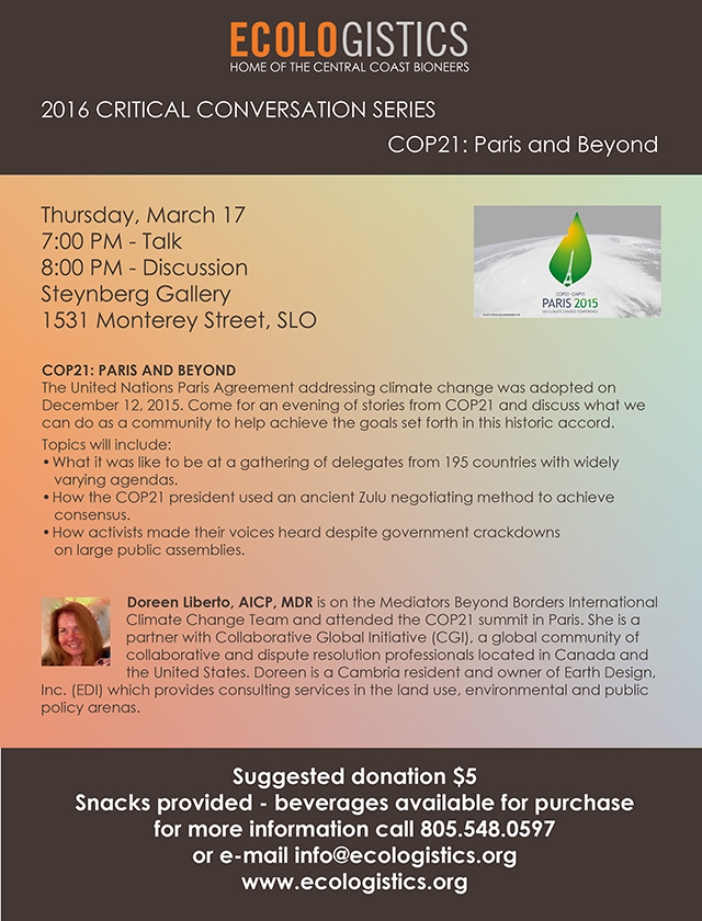 2016-03-17 Ecololgistics COP21 Paris and Beyond Flyer