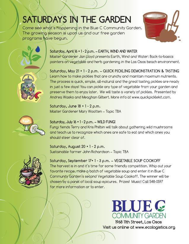 2016 Blue C Community Garden - Saturdays in the Garden Flyer