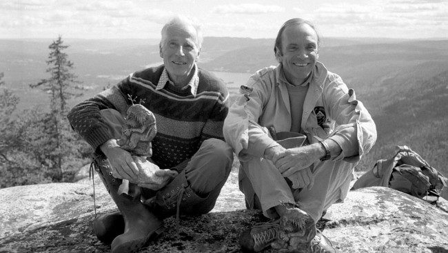 Arnes Naess Jr. with his uncle, Arne Naess Sr. on top of Andersnatten, Norway - Photo Bjorn-Owe Holmberg